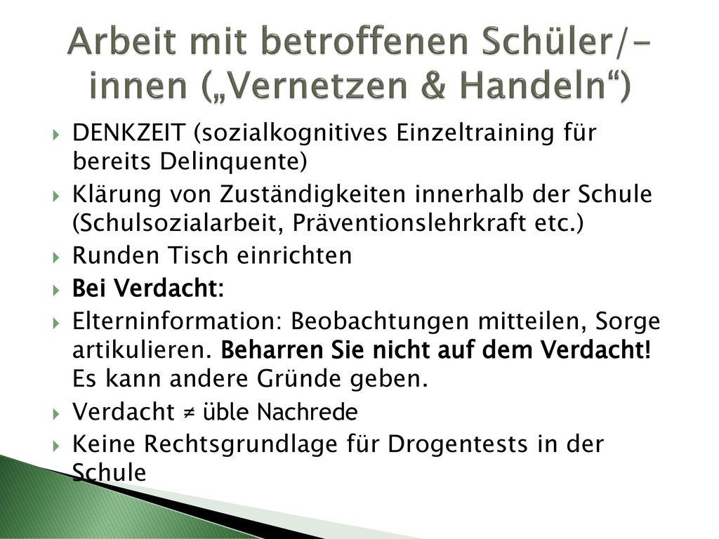 """Arbeit mit betroffenen Schüler/-innen (""""Vernetzen & Handeln )"""