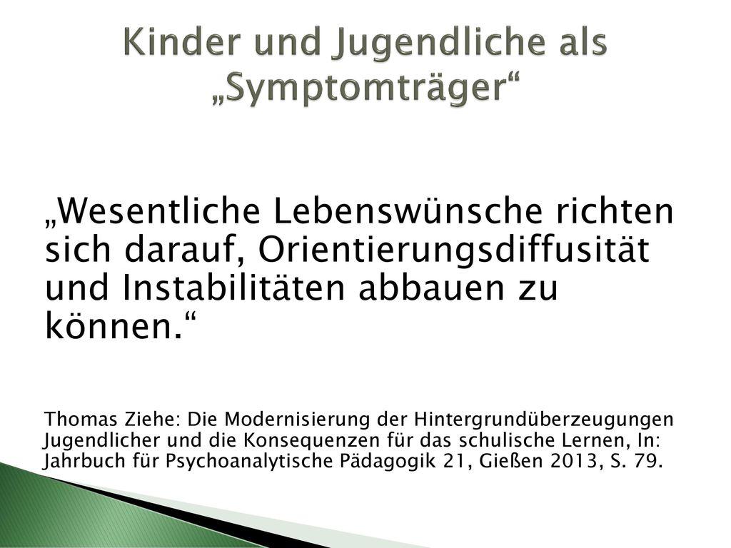 """Kinder und Jugendliche als """"Symptomträger"""