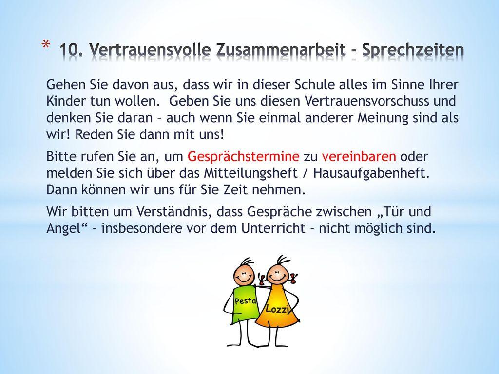 10. Vertrauensvolle Zusammenarbeit - Sprechzeiten