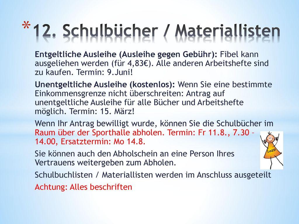 12. Schulbücher / Materiallisten