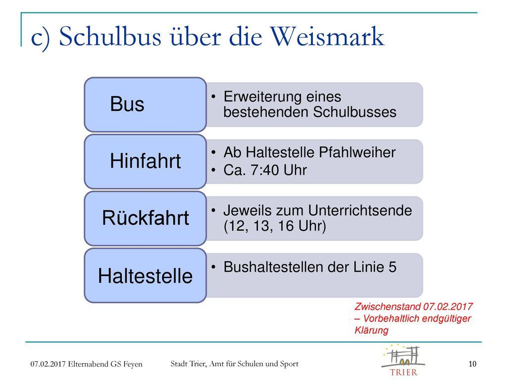 c) Schulbus über die Weismark