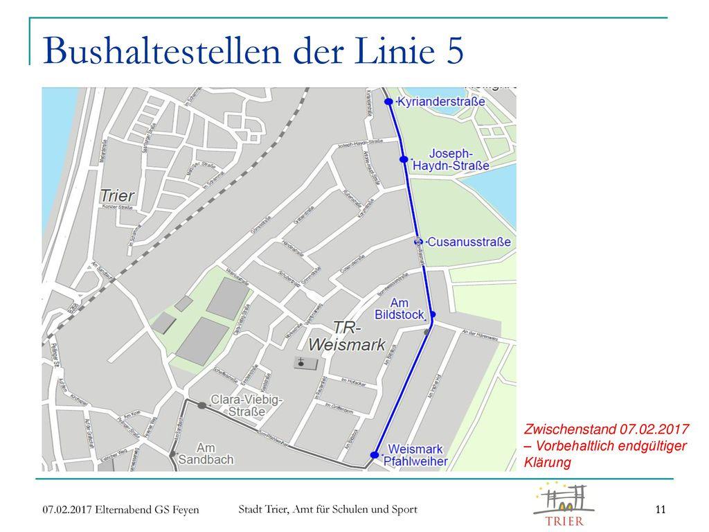 Bushaltestellen der Linie 5