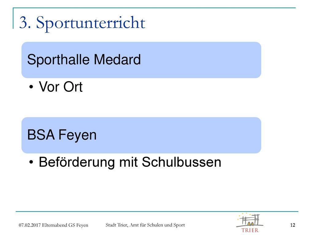 3. Sportunterricht Sporthalle Medard Vor Ort BSA Feyen
