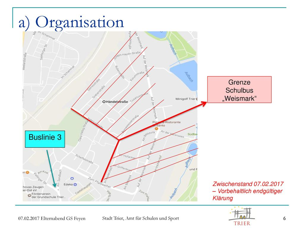 """a) Organisation Buslinie 3 Grenze Schulbus """"Weismark"""