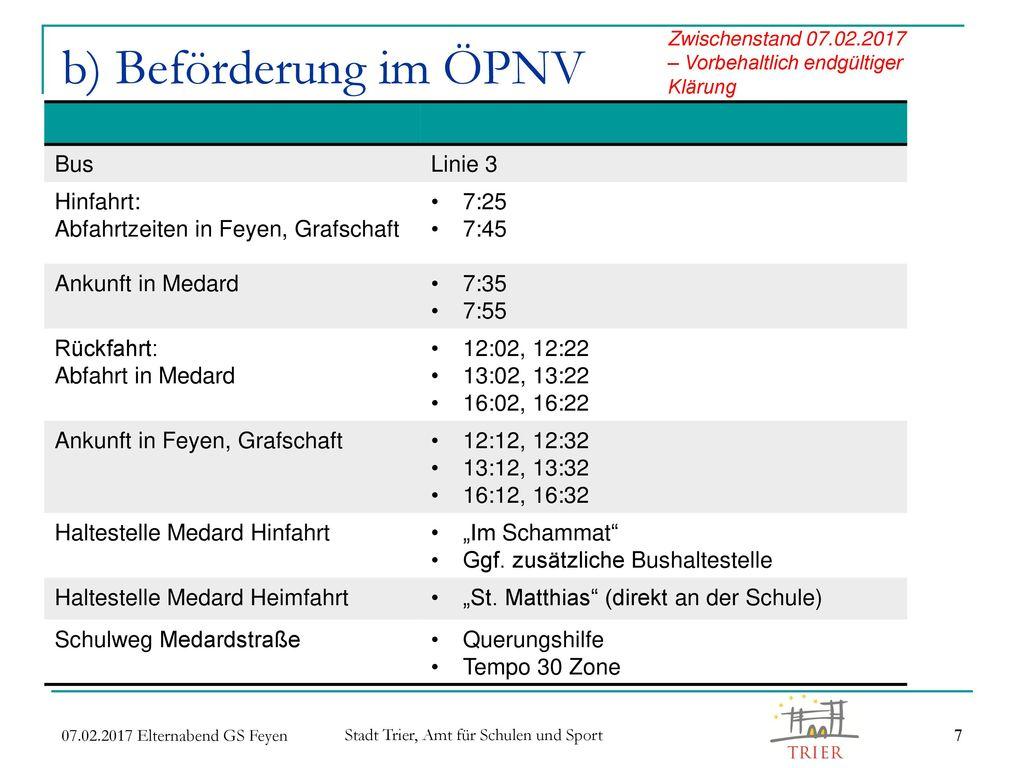 b) Beförderung im ÖPNV Bus Linie 3 Hinfahrt: