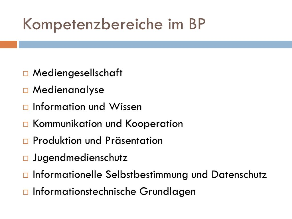 Kompetenzbereiche im BP