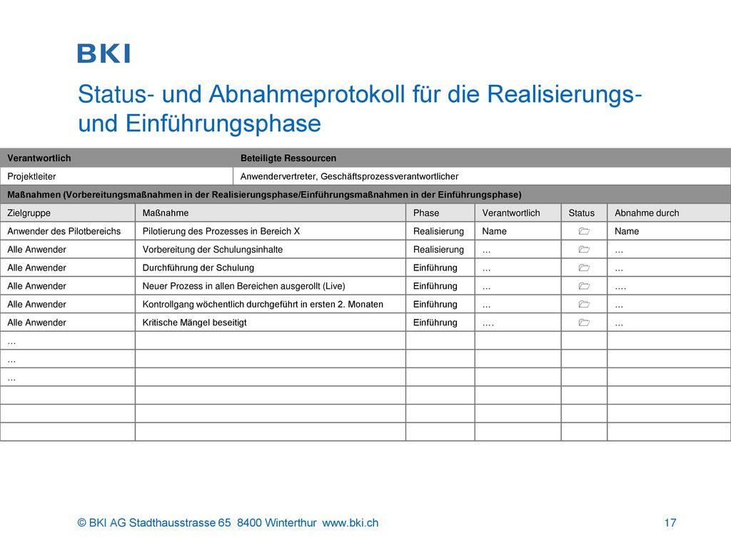 Status- und Abnahmeprotokoll für die Realisierungs- und Einführungsphase