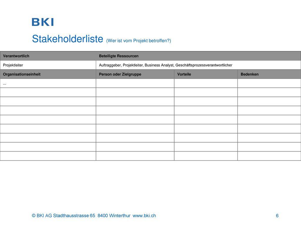 Stakeholderliste (Wer ist vom Projekt betroffen )