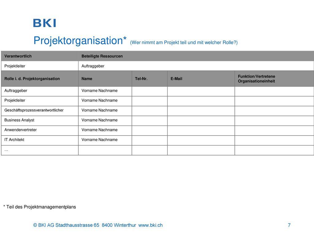 Projektorganisation. (Wer nimmt am Projekt teil und mit welcher Rolle