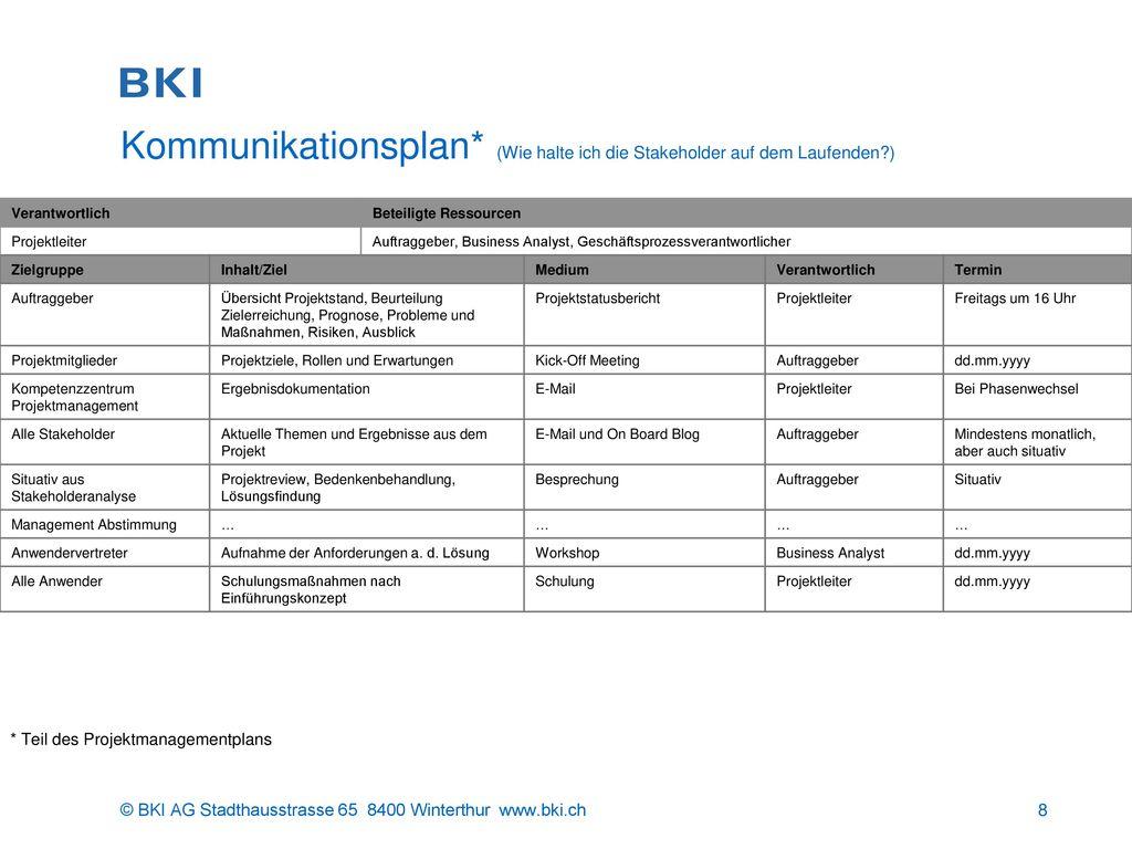 Kommunikationsplan* (Wie halte ich die Stakeholder auf dem Laufenden )