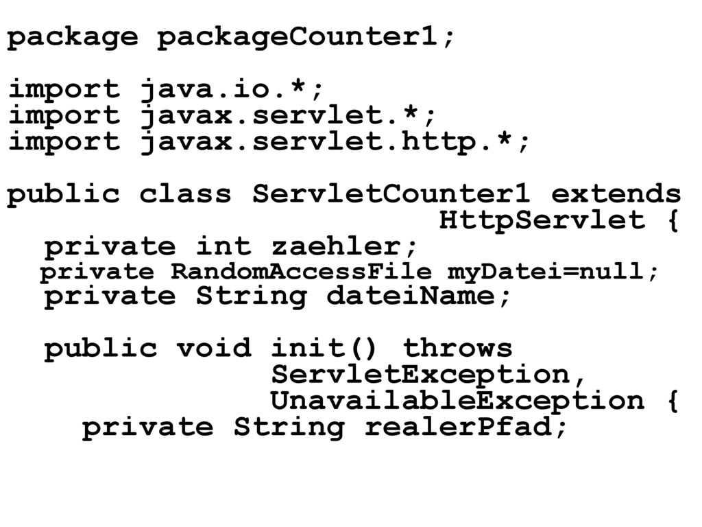 package packageCounter1; import java.io.*; import javax.servlet.*;