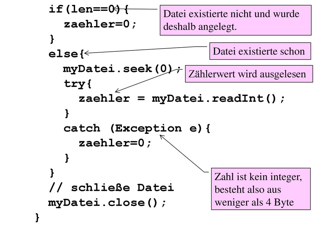 zaehler = myDatei.readInt(); catch (Exception e){