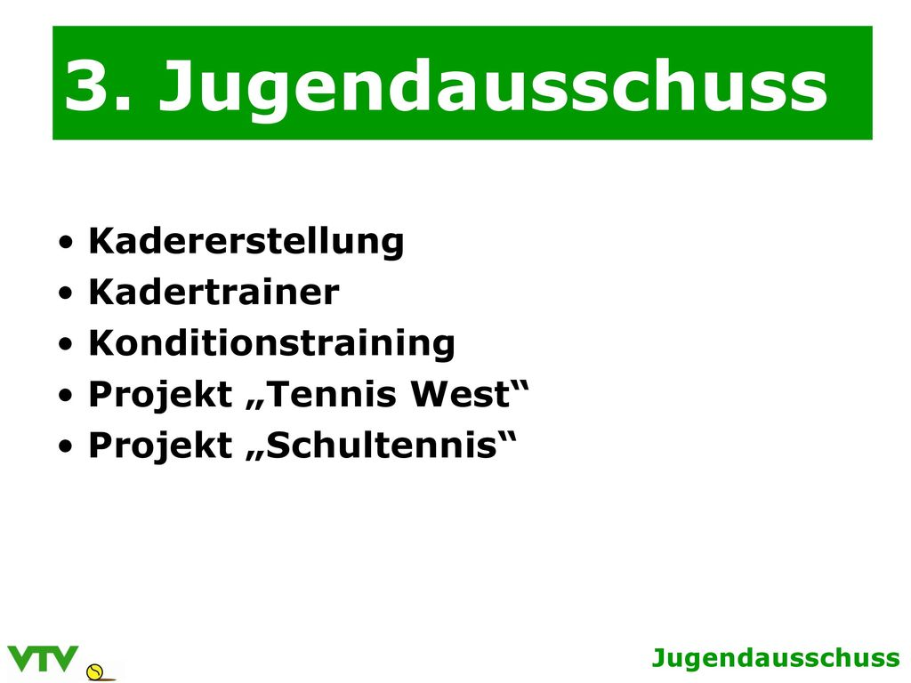3. Jugendausschuss Kadererstellung Kadertrainer Konditionstraining