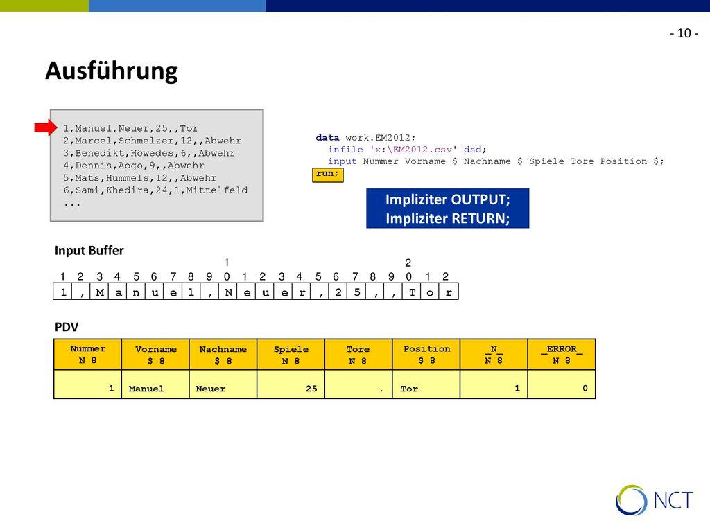 Ausführung Impliziter OUTPUT; Impliziter RETURN; - 10 - Input Buffer