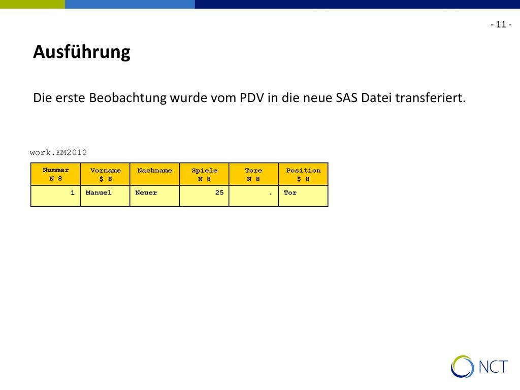 - 11 - Ausführung. Die erste Beobachtung wurde vom PDV in die neue SAS Datei transferiert. work.EM2012.