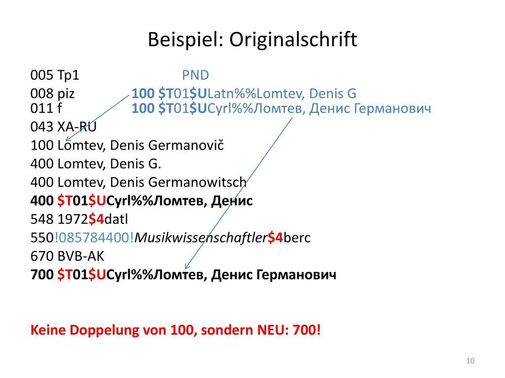 Beispiel: Originalschrift