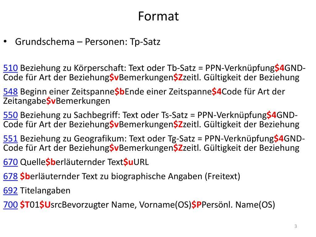 Format Grundschema – Personen: Tp-Satz