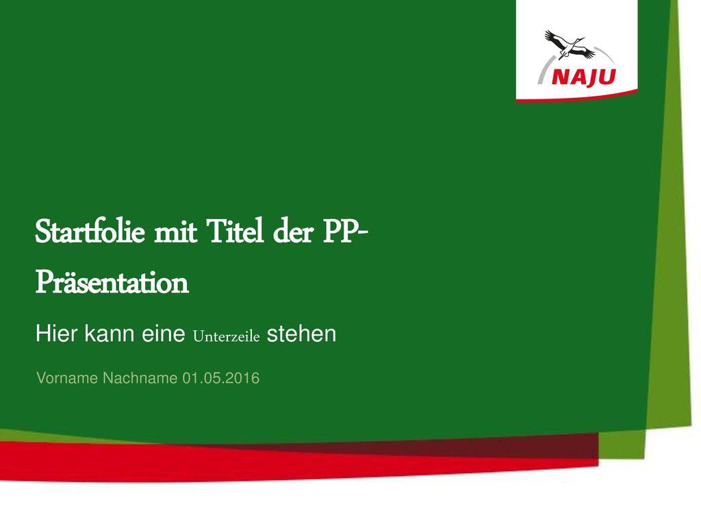 Startfolie mit Titel der PP-Präsentation