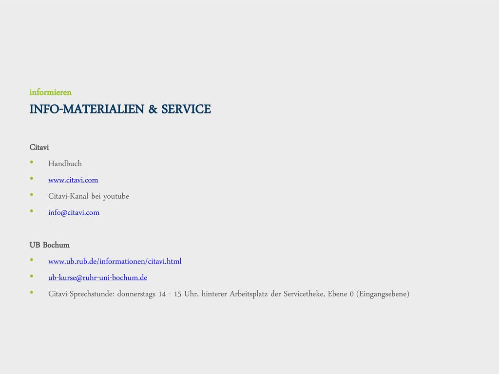 informieren INFO-MATERIALIEN & SERVICE