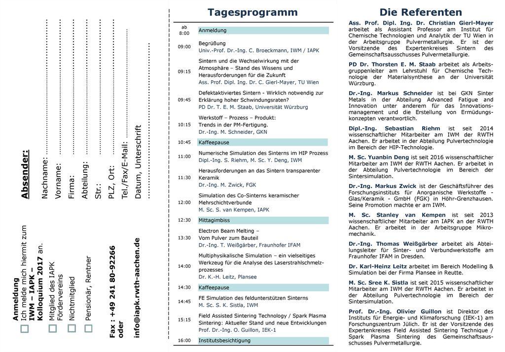 Tagesprogramm Die Referenten Absender: