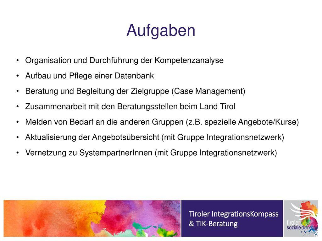 Aufgaben Organisation und Durchführung der Kompetenzanalyse