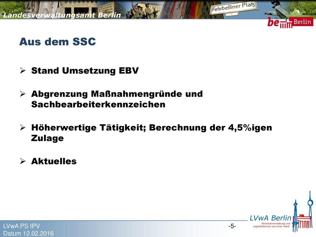 Aus dem SSC Stand Umsetzung EBV