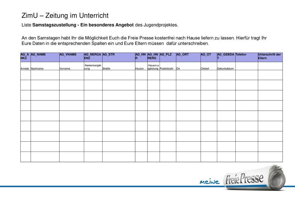 ZimU – Zeitung im Unterricht