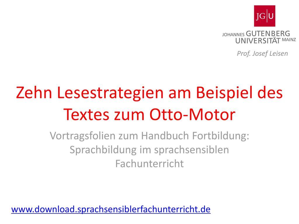 Zehn Lesestrategien am Beispiel des Textes zum Otto-Motor
