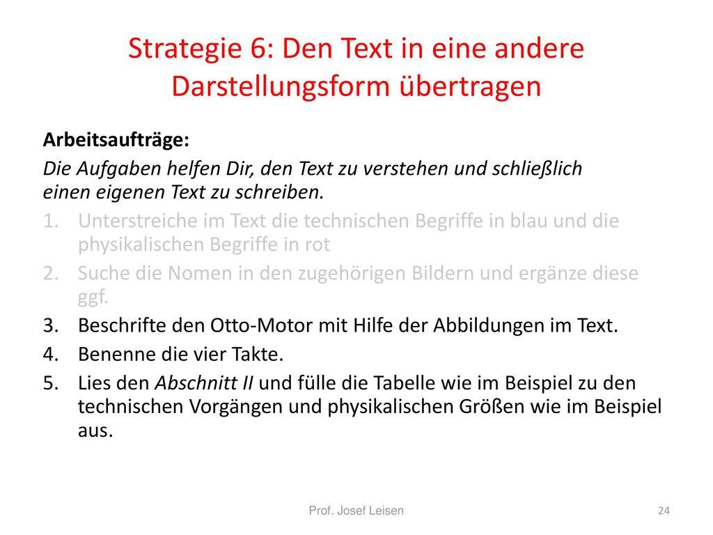 Strategie 6: Den Text in eine andere Darstellungsform übertragen