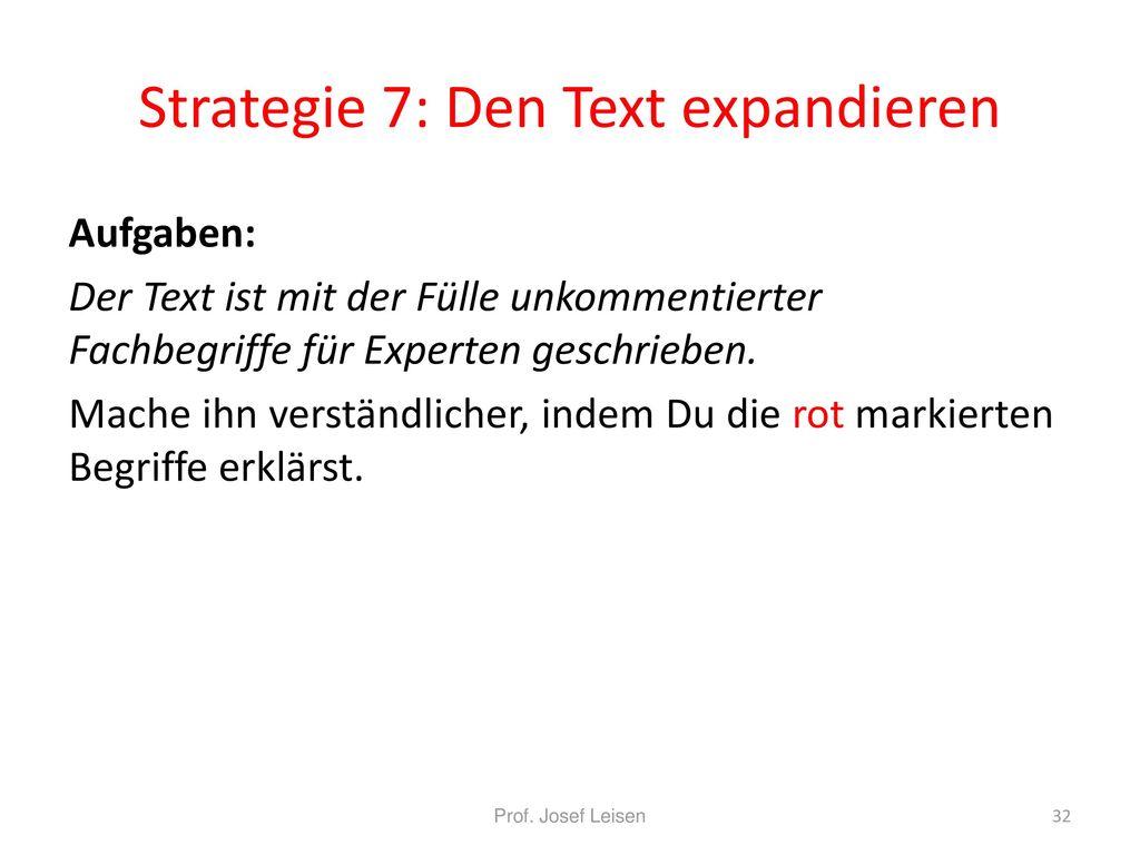 Strategie 7: Den Text expandieren
