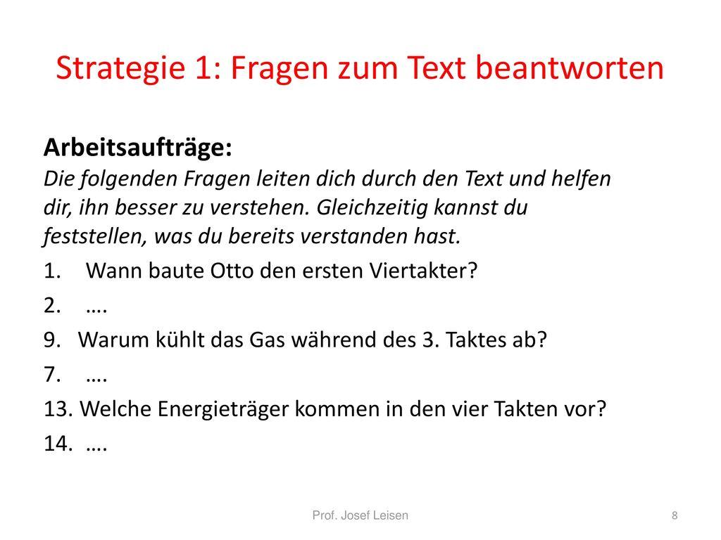 Strategie 1: Fragen zum Text beantworten