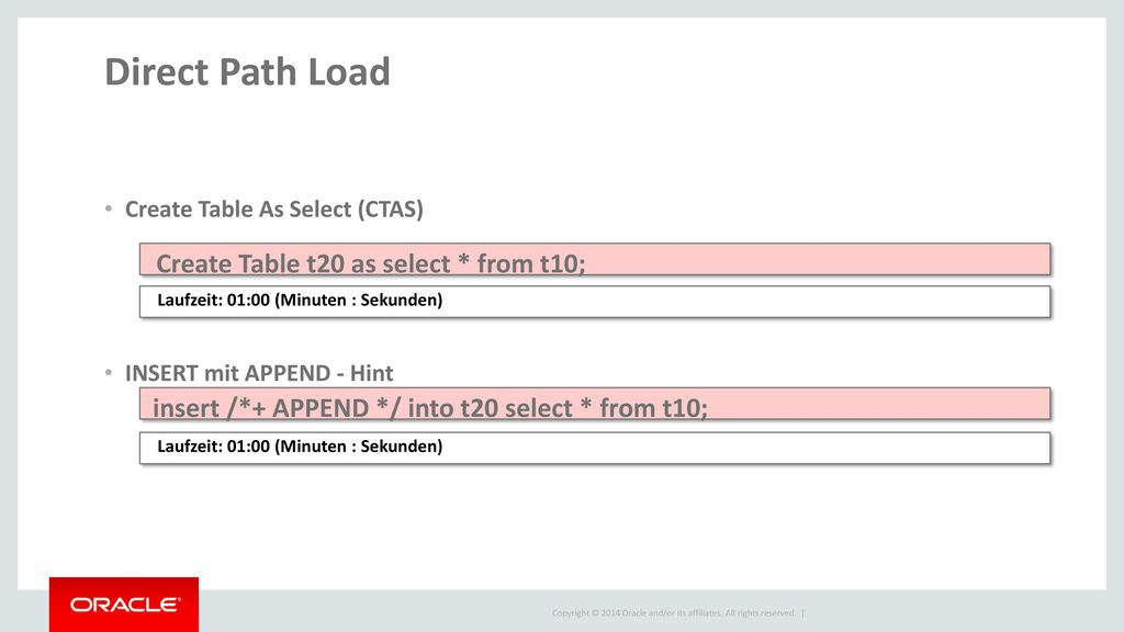 Direct Path Load Create Table t20 as select * from t10;