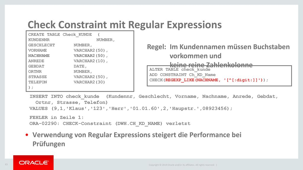 Check Constraint mit Regular Expressions