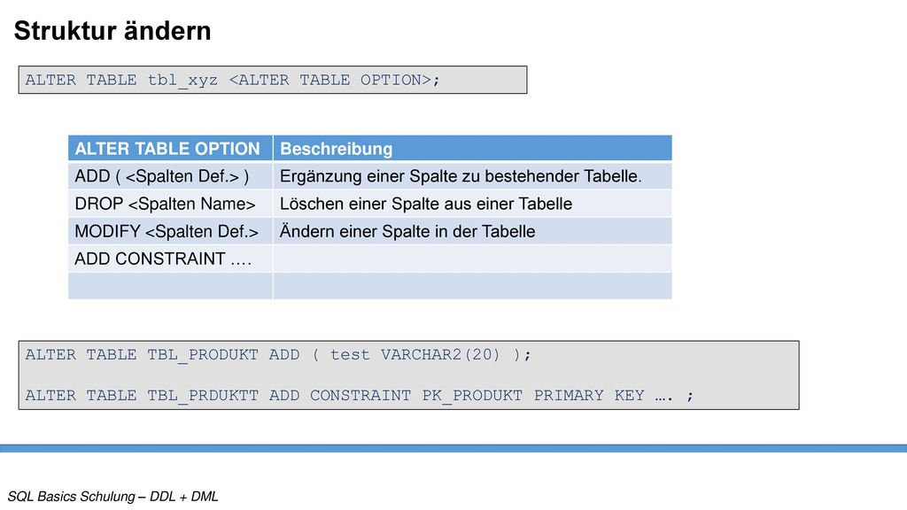 Struktur ändern ALTER TABLE tbl_xyz <ALTER TABLE OPTION>;