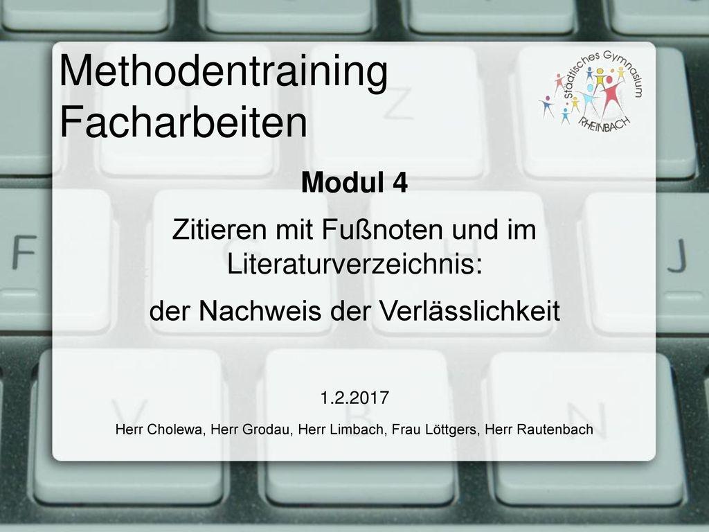 Methodentraining Facharbeiten