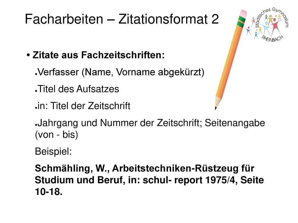 Facharbeiten – Zitationsformat 2