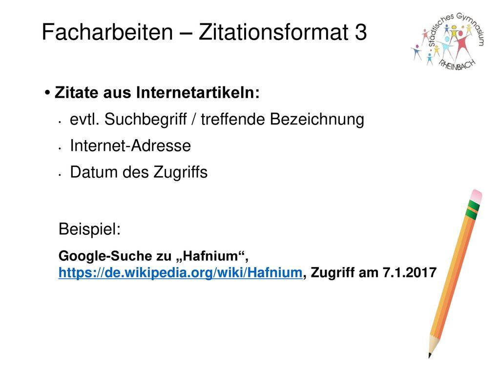Facharbeiten – Zitationsformat 3