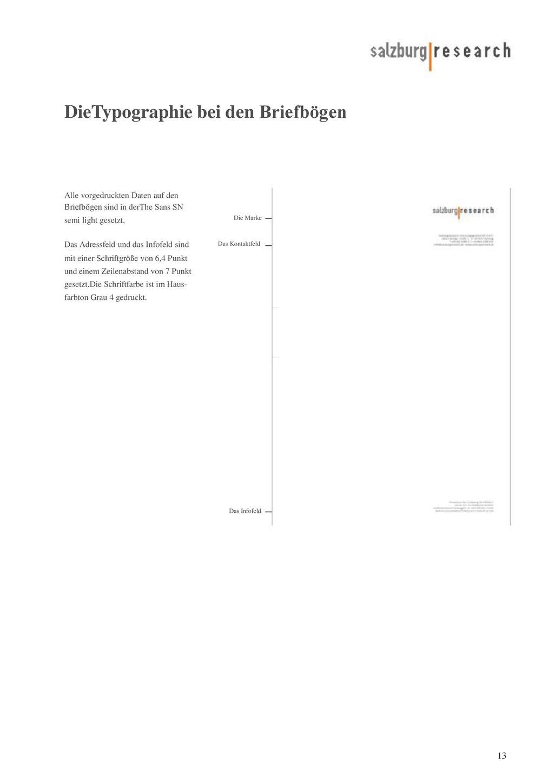 DieTypographie bei den Briefbögen