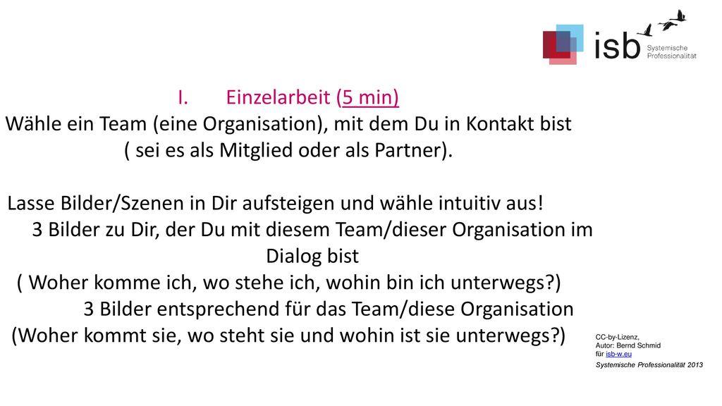 Wähle ein Team (eine Organisation), mit dem Du in Kontakt bist