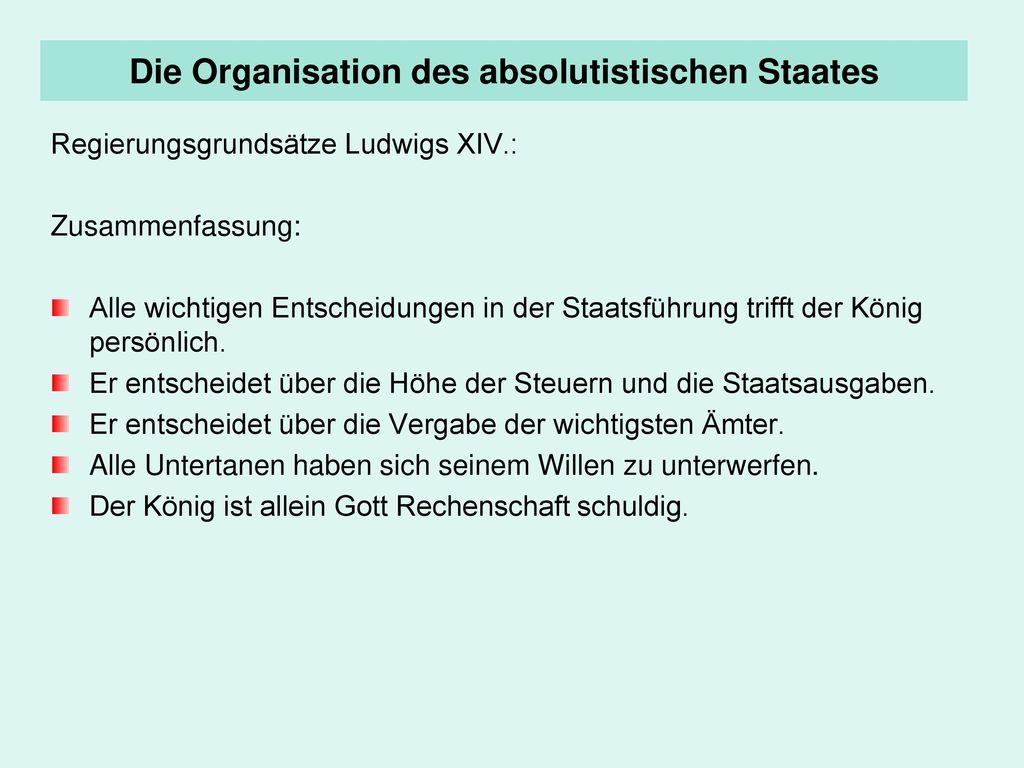 Die Organisation des absolutistischen Staates