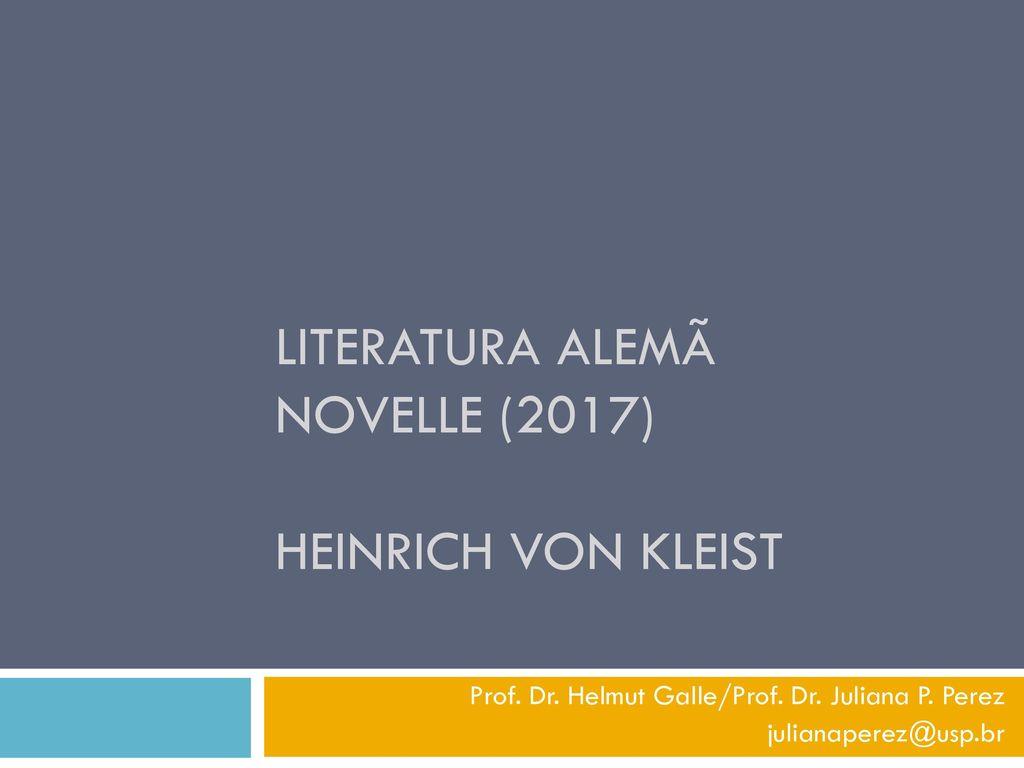 Literatura Alemã Novelle (2017) Heinrich von Kleist
