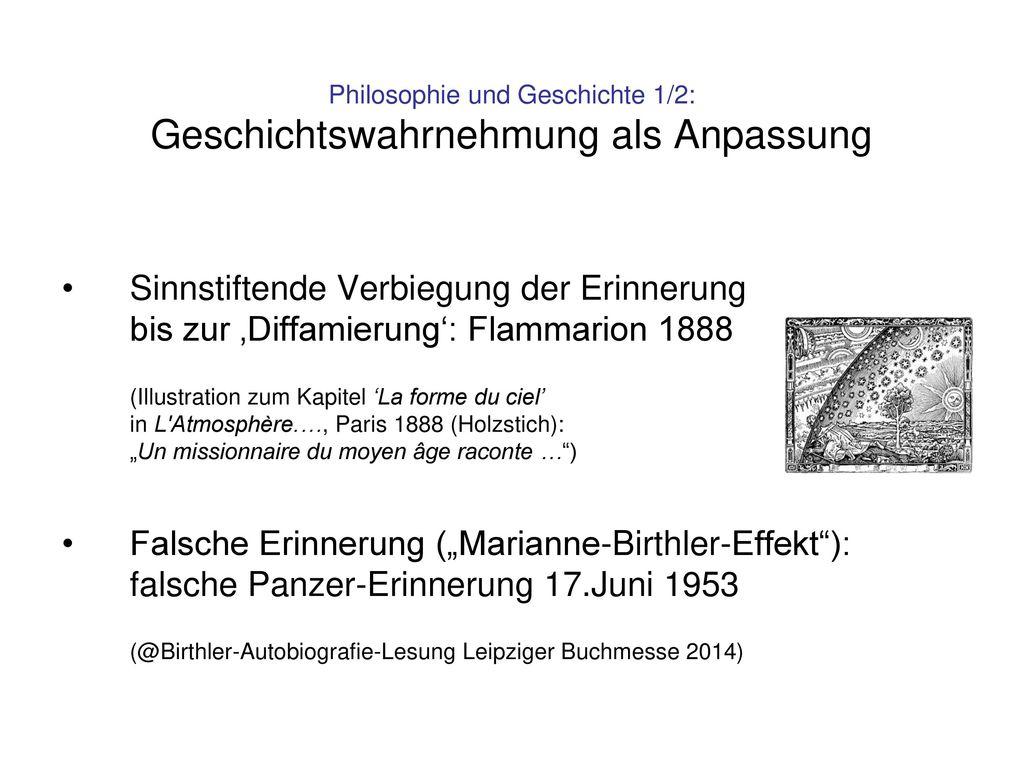 Philosophie und Geschichte 1/2: Geschichtswahrnehmung als Anpassung
