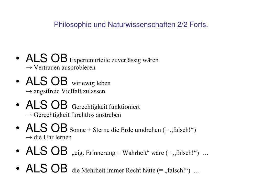 Philosophie und Naturwissenschaften 2/2 Forts.