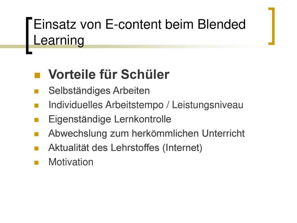 Einsatz von E-content beim Blended Learning