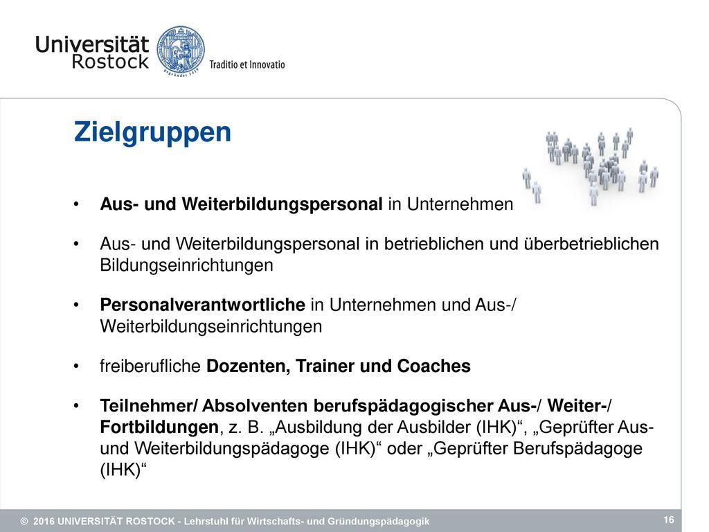 Zielgruppen Aus- und Weiterbildungspersonal in Unternehmen
