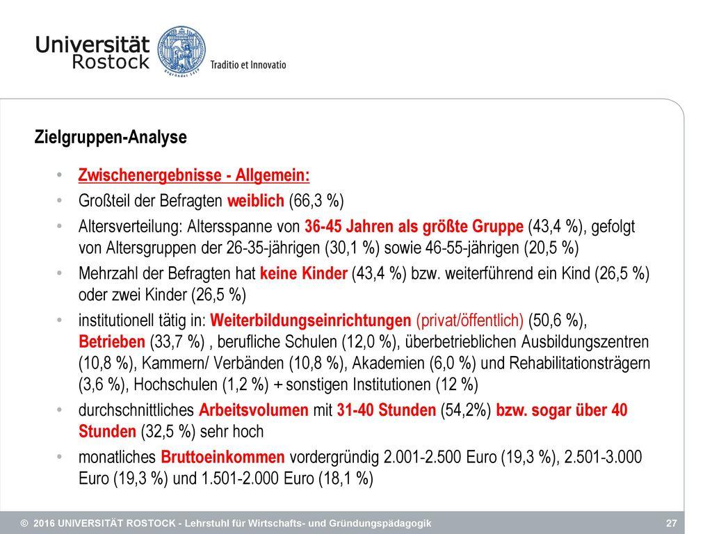Zielgruppen-Analyse Zwischenergebnisse - Allgemein:
