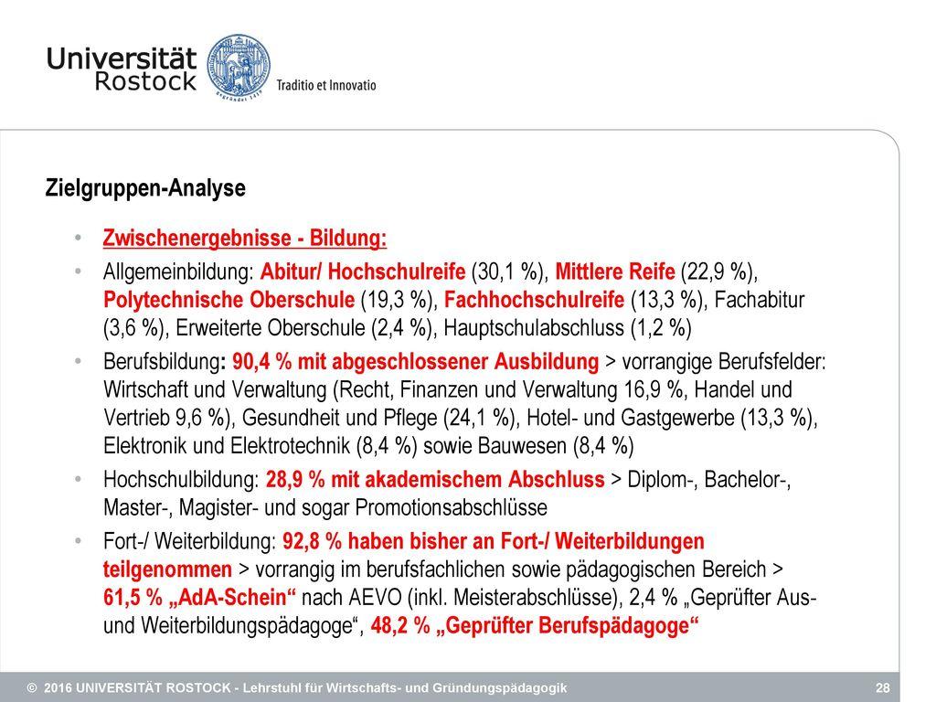 Zielgruppen-Analyse Zwischenergebnisse - Bildung: