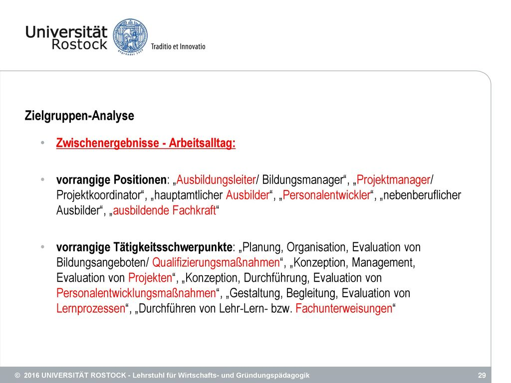 Zielgruppen-Analyse Zwischenergebnisse - Arbeitsalltag: