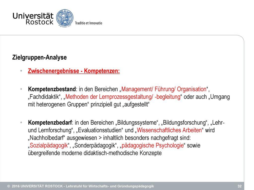 Zielgruppen-Analyse Zwischenergebnisse - Kompetenzen: