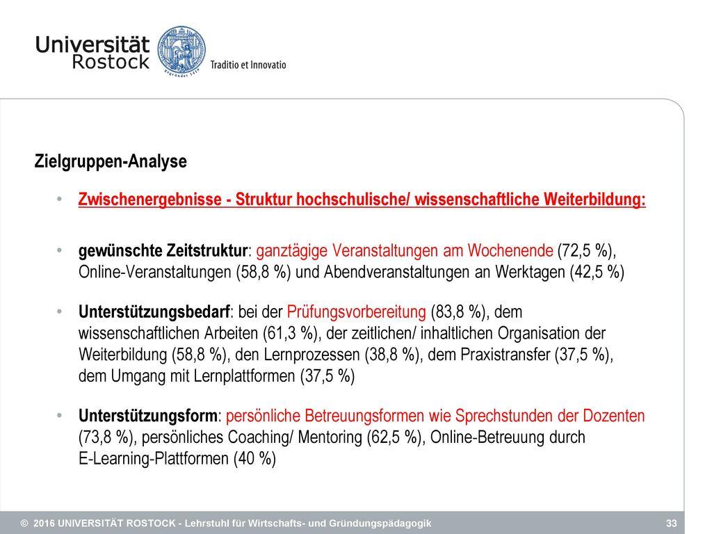 Zielgruppen-Analyse Zwischenergebnisse - Struktur hochschulische/ wissenschaftliche Weiterbildung: